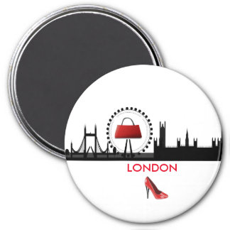 Damen-Mode-Thema-London-Skyline-Magnet Runder Magnet 7,6 Cm