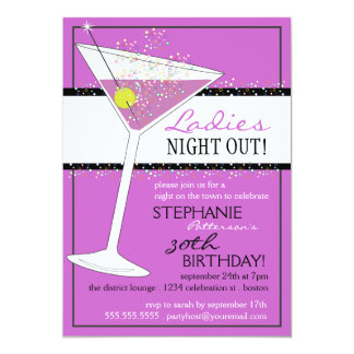 Damen-Nachtheraus Martini-Geburtstags-Feier 12,7 X 17,8 Cm Einladungskarte