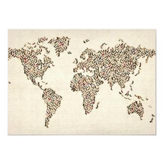 Damen-Schuh-Karte der Weltkarte 12,7 X 17,8 Cm Einladungskarte
