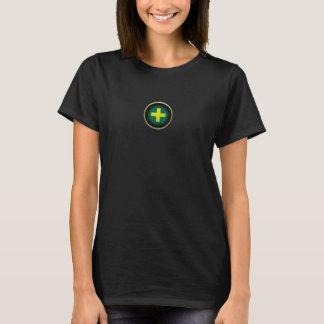 Damen stellten schwarzen T - Shirt mit Heilermotiv