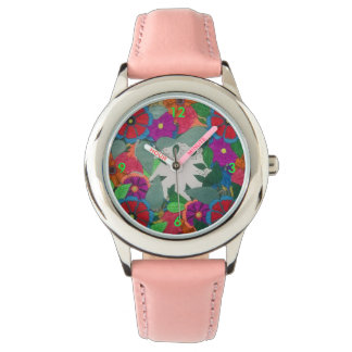 Damen Uhr mit Blumen Motiv
