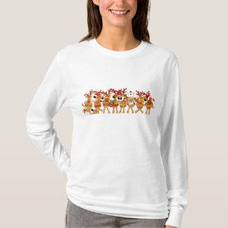 Damen-Weihnachts-Gesang-Ren lange Hülsen-Spitze T-Shirt