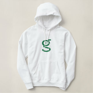 Damen weißes Hoodie w grünes Logo