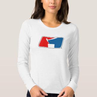 Damen weißes langärmliges STUMPF Logo-T-Stück Shirt