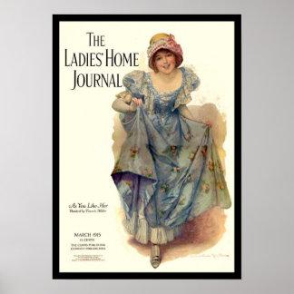 Damen-Zuhause-Zeitschriften-Zeitschrift 1915 KRW V Poster