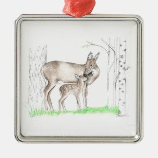 Damhirschkuh und Kitz Silbernes Ornament