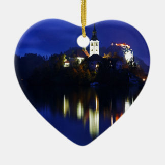 Dämmerung über dem See geblutet Keramik Herz-Ornament