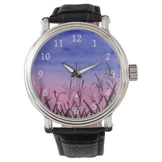 Dämmerungs-Mais-Feld-Uhr Uhr