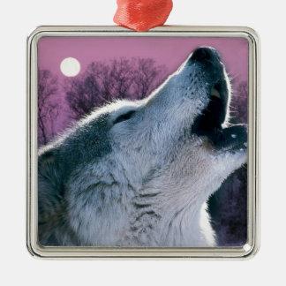 Dämmerungswaldwaldmondscheinheulenwolf Quadratisches Silberfarbenes Ornament