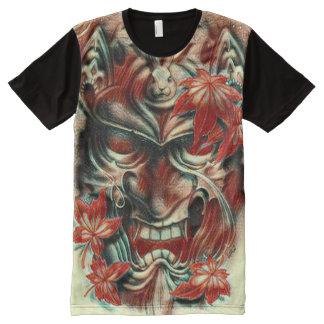 Dämon-Masken-Aquarell-Bleistift-Kunst T-Shirt Mit Bedruckbarer Vorderseite