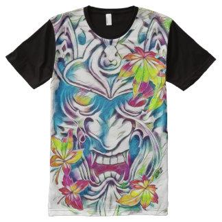 Dämon-Masken-Aquarell-Fantasie-Kunst T-Shirt Mit Komplett Bedruckbarer Vorderseite