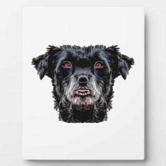 Dämon-schwarzer Hundekopf Fotoplatte