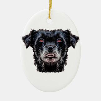 Dämon-schwarzer Hundekopf Keramik Ornament