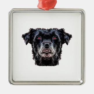 Dämon-schwarzer Hundekopf Silbernes Ornament