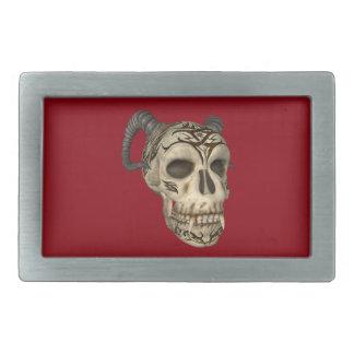 Dämon-Vampirs-Schädel auf roter Rect Rechteckige Gürtelschnalle