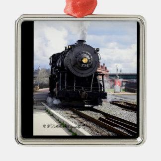 Dampf-Lokomotivverzierung Quadratisches Silberfarbenes Ornament