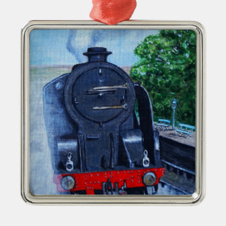 Dampf-Zug an der Station Quadratisches Silberfarbenes Ornament