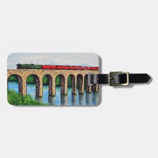 Dampf-Zug auf einer Viaductmalerei Gepäckanhänger
