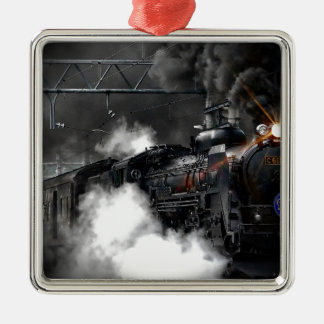 Dampf-Zug Quadratisches Silberfarbenes Ornament