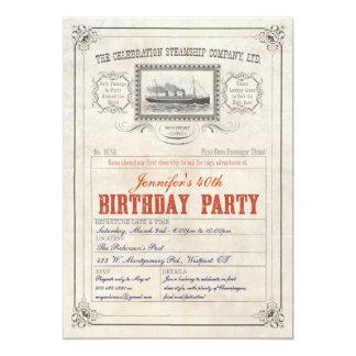 Dampfer-Kreuzschiff-Karten-Einladungs-Geburtstag 12,7 X 17,8 Cm Einladungskarte