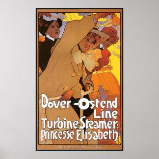 Dampfer-Linie Dovers Ostende Plakatdruck