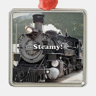 Dampfig!: dämpfen Sie Zug-Motor, Colorado, USA 8 Quadratisches Silberfarbenes Ornament