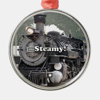 Dampfig!: dämpfen Sie Zug-Motor, Colorado, USA 8 Rundes Silberfarbenes Ornament