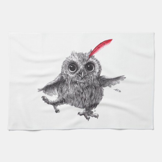 Dancing Owl with Red Feather Geschirrtuch