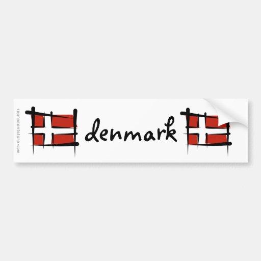 Dänemark-Bürsten-Flagge Auto Sticker