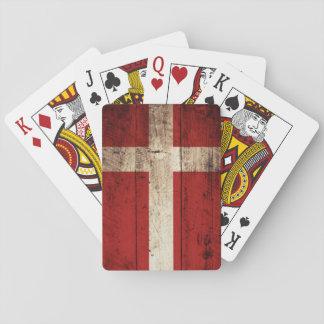 Dänemark-Flagge auf altem hölzernem Korn Spielkarten