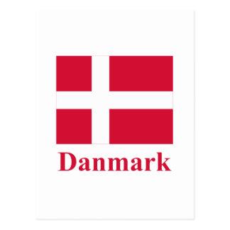 Dänemark-Flagge mit Namen auf Dänische Postkarte