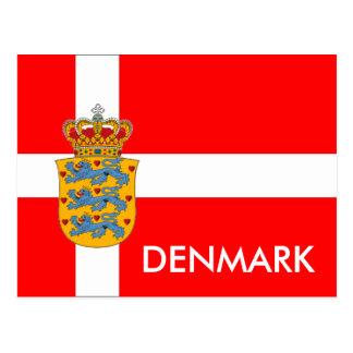 Dänemark-Flagge u. Wappen Postkarte! Postkarte