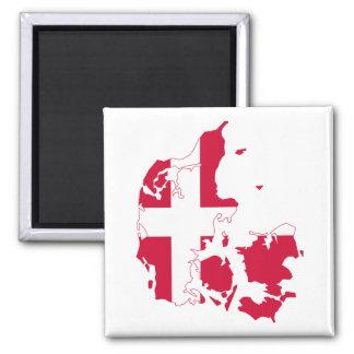 Dänemark-Flaggen-Karte Quadratischer Magnet