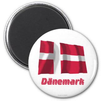 Dänemark Fliegende Flagge MIT Namen Runder Magnet 5,7 Cm