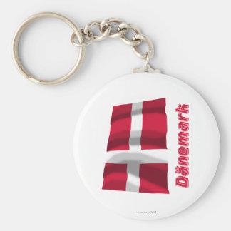 Dänemark Fliegende Flagge MIT Namen Schlüsselanhänger