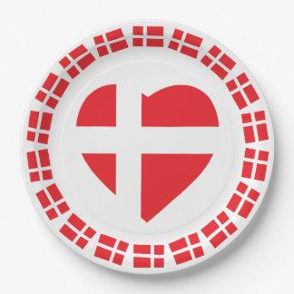 DÄNEMARK-HERZ-FORM-FLAGGE DANNEBROG PAPPTELLER