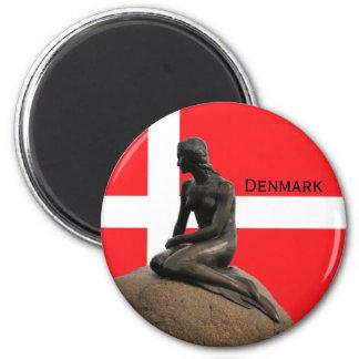 Dänemarkflagge und -meerjungfrau runder magnet 5,7 cm