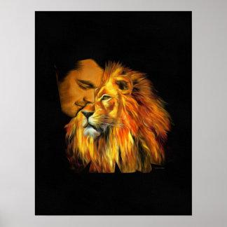 Daniel, der auf dem Löwe-Kopf Nickerchen macht Poster