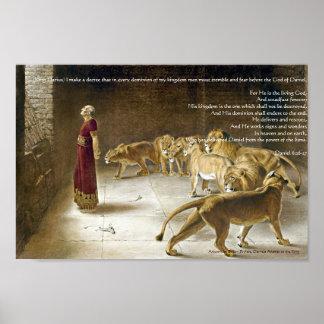 Daniel im die Höhlen-Bibel-Kunst-Druck des Löwes Posterdruck
