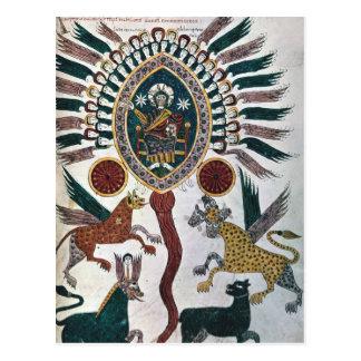 Daniels Vision von vier Tieren und von Gott Postkarte