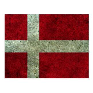 Dänische Flagge gealterter Stahleffekt Postkarte