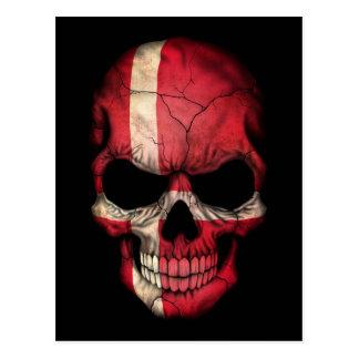 Dänischer Flaggen-Schädel auf Schwarzem Postkarte