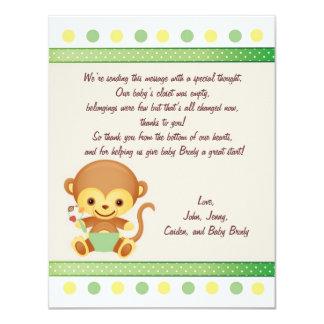 Dank-Anmerkungs-Baby-Affe 10,8 X 14 Cm Einladungskarte