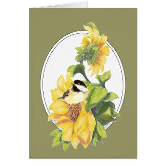 Dank, der Aquarell-Chickadee und Sonnenblume grüßt Karte