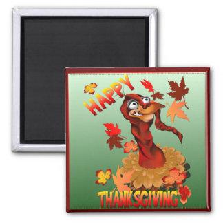 Dank, der die Türkei und Herbst Leaves_Magnets Quadratischer Magnet