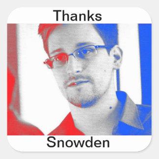 Dank Edward Snowden Quadrat-Aufkleber