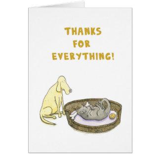 Dank für alles! Hunde- und Katzenkarte Karte
