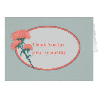 Dank für Beileid, rosa Gartennelken Grußkarte