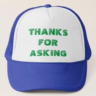 Dank für das Fragen des Fernlastfahrer-Hutes Truckerkappe