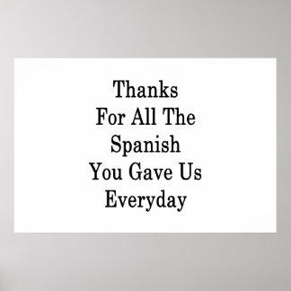 Dank für das ganzes Spanischen gaben Sie uns Poster